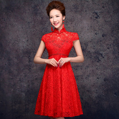 Purple Fairy spring/summer 2015 new stylish pregnant woman plus size short red cheongsam dresses bride wedding toast clothing