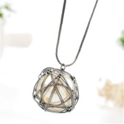 Love simple irregular hollow ball imitation Pearl long necklace Korea necklace Joker temperament sweater necklace