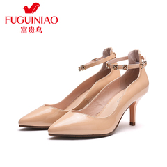 Fuguiniao shoes spring 2016 new female pointed leather shoes shoes high heel stiletto shoe