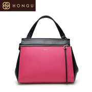 Honggu red Valley women's Shoppe of genuine new European fashion zipper contrast color leather shoulder handbag 1963