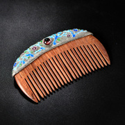 Very original grilled blue Chinese-style 925 Silver handmade Thai hyacinth hair comb style wooden Hair Combs