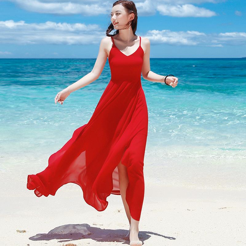 夏红色吊带长裙雪纺露背不规则连衣裙波西米亚长裙海边度假沙滩裙