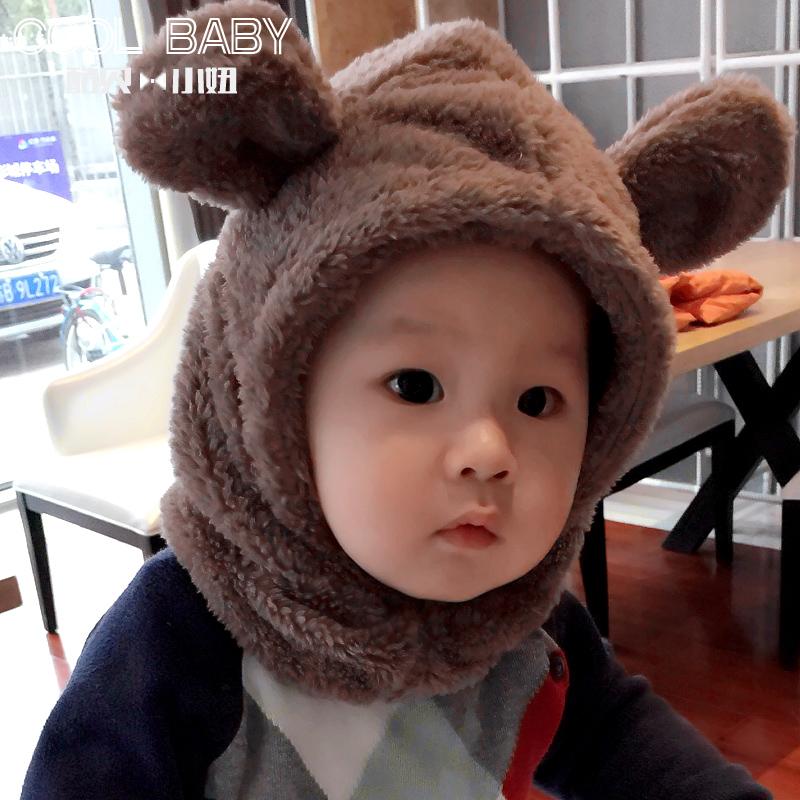 婴儿冬季6-12个月加绒加厚保暖男女宝宝围巾帽子一体1-2岁护耳帽