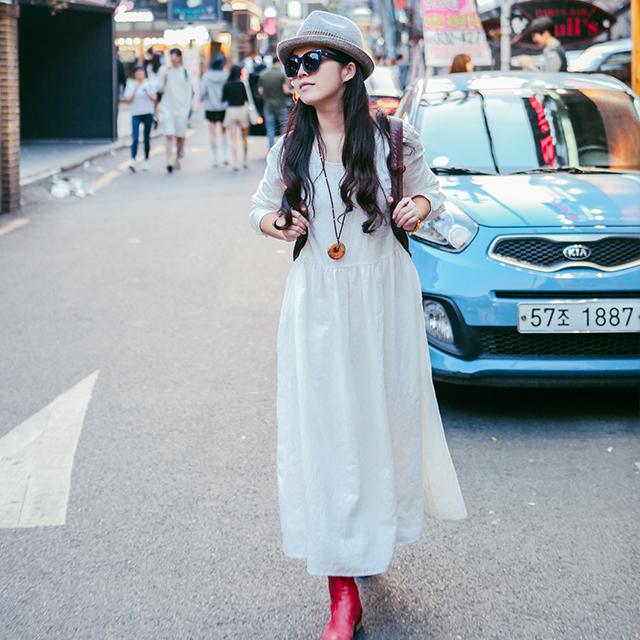 绽放463朵/画扇/白色棉麻连衣裙长裙宽松复古文艺中长款长袖女装