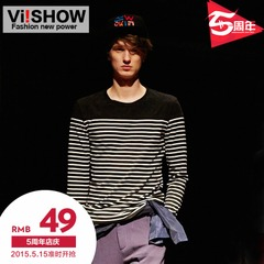 Viishow2015 spring and autumn new style long sleeve t-shirt men's long sleeve retro self-cultivation stripes casual fashion trendy man long