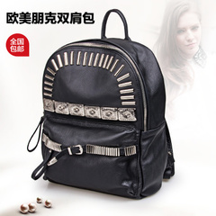 2015 new simple metal rivet backpack retro shoulder bag leather flashes College air bags Lady bags