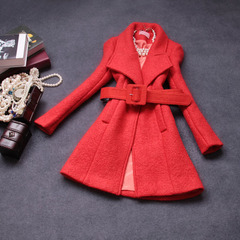 Autumn/winter 2014 new European and American luxury fashion temperament long sleeve slim wool coat jacket