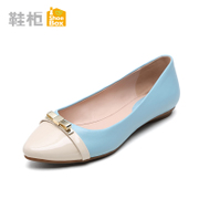 Shoebox shoe spring 2015 shallow flat flat shoes of England bows superficial sharp colour matching shoes