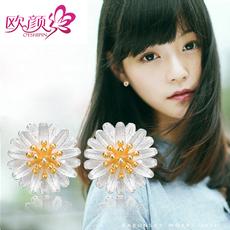 欧颜 925银雏菊耳钉 女 韩国气质不易过敏 日韩女款银耳环耳饰品