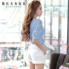 Female summer shorts pink doll 2015 new temperament tide ladies shorts mesh-and-white shorts