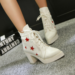 2015 designer shoes for fall/winter water proof pointy heeled casual booties tie before Martin boots and ankle boots women's boots
