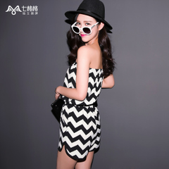 ^@^ Summer of seven space space OTHERMIX2015 new black and white stripe print sexy strapless jumpsuit women