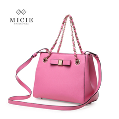 MICIE/beautiful city bow tortoiseshell bag small tote bags leather shoulder bag women bag chain bag retro package
