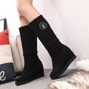 C autumn 2015 Korean suede stretch boots with short boots high boots in women''''s shoes in two wear women''''s boots