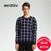 Westlink/2015 West new men casual square pattern knit pure cotton intercropping system in winter sweater