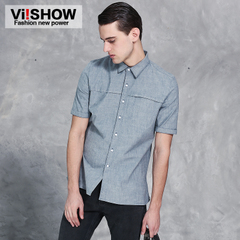 England viishow2015 men's short sleeve denim shirt casual slim fit men's denim shirt
