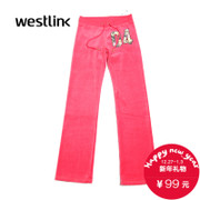 Westlink/West 2015 winter new style ladies gold silk velvet pants suit women health underwear