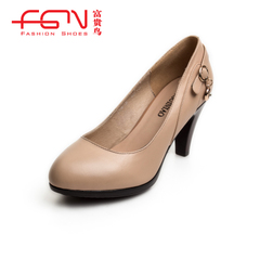 Coarse fuguiniao shoes with genuine leather work shoes women high heels shoes white collar occupational shoes