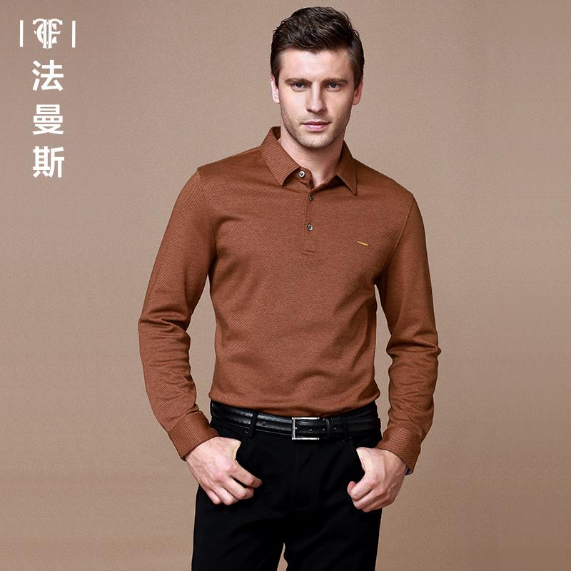 法曼斯男士长袖T恤  2015秋季新款青年薄款商务纯色翻领长T