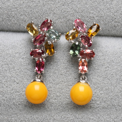 Pro-Bao Crystal natural chicken oil yellow beeswax earrings 925 embedded tourmaline drop earrings earrings jewelry top benefits