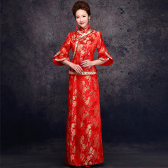 Purple Fairy improved Phoenix wedding dresses gown dress fashion Red Chinese bride toast clothing long spring of 2015