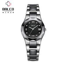 拜戈 瑞士正品手表 几何系列 石英情侣 钢带女表 黑面 2211Q2675
