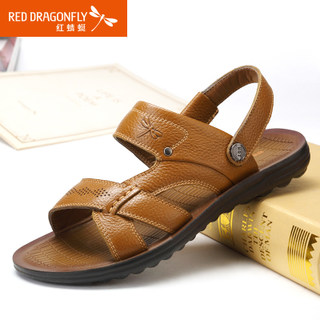 Red Dragonfly genuine leather men Sandals 2015 summer styles comfortable breathable non-slip shoes men's shoes