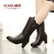 KONJIO/Kang Jiao in thick winter boots casual boots fall/winter new products women's boots side zipper with round head Europe