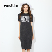 Westlink/West spring 2016 shines new wave short letter printed long sleeve turtleneck dress