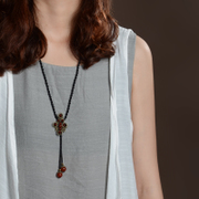 Original handmade jewelry in folk style vintage brass natural agate slice long necklace women''s best selling 03097