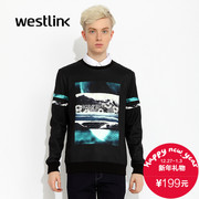 Westlink/West fall 2015 new printing easy and cashmere men's long sleeve casual sweater