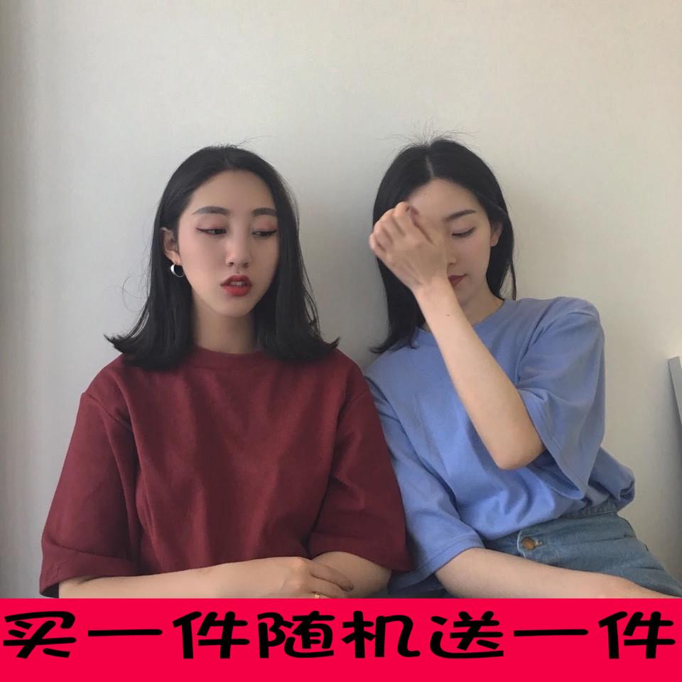 港风复古韩国chic宽松显瘦学院风纯色圆领短袖t恤女半袖体恤上衣