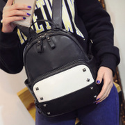 Fanciful 2015 new style fashion simple Korean rivet shoulders bag women bag Pu black and white color Pack