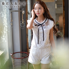 White shirt female pink doll 2015 summer styles dresses lace flounces slim shirt