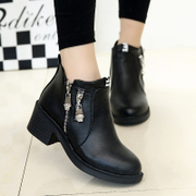 Korean version of the 2015 winter shoes and ankle boots women short boots short flashes with student naked in boots and cashmere coarse boots cotton boots
