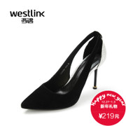 Westlink/West fall 2015 new dinner pointed mixed colors elegant Sheepskin hollow stilettos shoes
