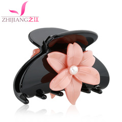 Jiang jewelry hair clip catch the clip of medium card pick Korea Chuck Pearl flower tiara ponytail hair girl hair accessories