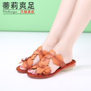 Tilly cool vintage art hand-sewn leather foot 2015 new summer leaves non-slip flat flip flops