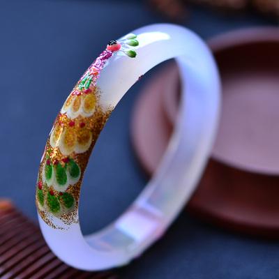 石仙民族风彩绘孔雀镶嵌窄版玛瑙手镯白绿红三色五款任选圆玉镯