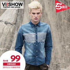 Viishow 2015 men's cowboy folk style floral square collar long shirt long sleeve shirt slim fit cotton spring