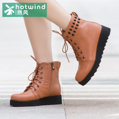 Hot new winter boots suede leather ankle boots with round head short of England tube women boots 75H5924