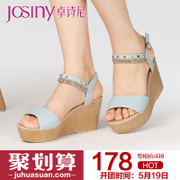 Zhuo Shini 2015 summer Europe and the super high heel rhinestone buckle rivets designer shoes with wedge Sandals 152238270
