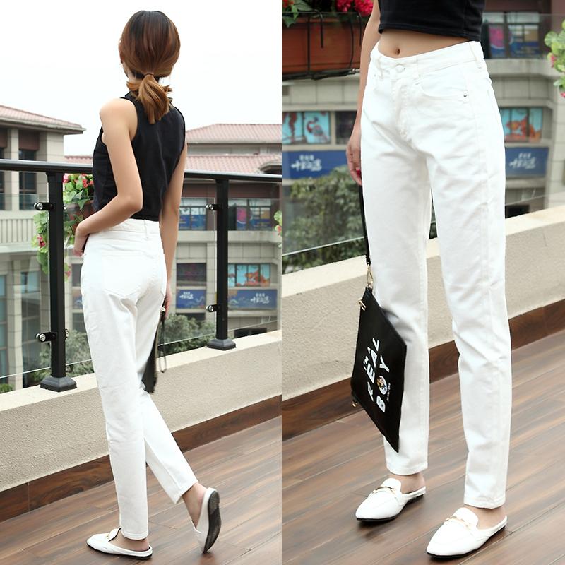 白色 牛仔裤 小脚 长裤 秋冬季 九分 宽松 休闲 哈伦