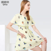 Fine bi Linda 2015 spring/summer new women wear short skirts and South Korea round neck ruffled high-waisted print dress