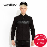 Westlink/West fall 2015 new letter collage mesh cotton long-sleeve casual shirts