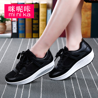 MI Ka new Korean canvas shaking female thick-soled platform shoes wedges Shoes Sneakers casual shoes women fall