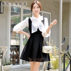 Fall/winter dress big pink doll at the end of the pre-2015 ladies strap waist slimming skirt autumn dress