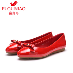 Rich bird spring of 2016, new leather shoes shoes women bow flats ballet shoes Red