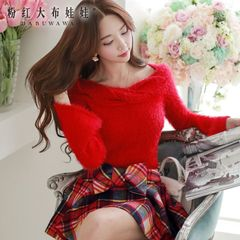 Sweater Turtleneck big pink doll spring 2015 new wave Korean neck twist women sweater