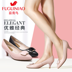 Fuguiniao shoes spring 2016 new leather shoes shoes women's pointy stilettos shoes women